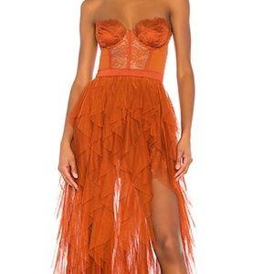 Long orange dress